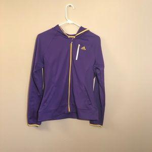 Adidas Purple and Yellow Zip Up Jacket